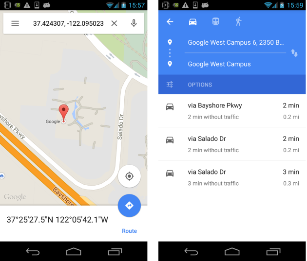 android google map navigation intent