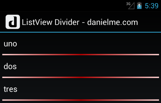 android listview divider gradient