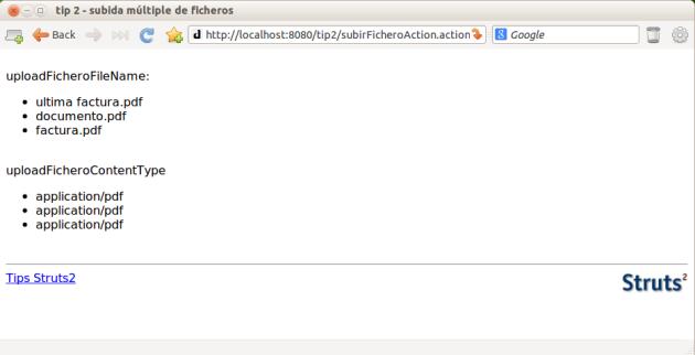 subida múltiple de ficheros en Struts2