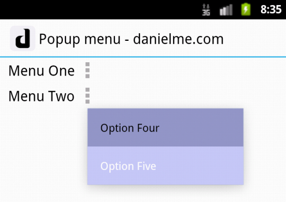 android popup menu