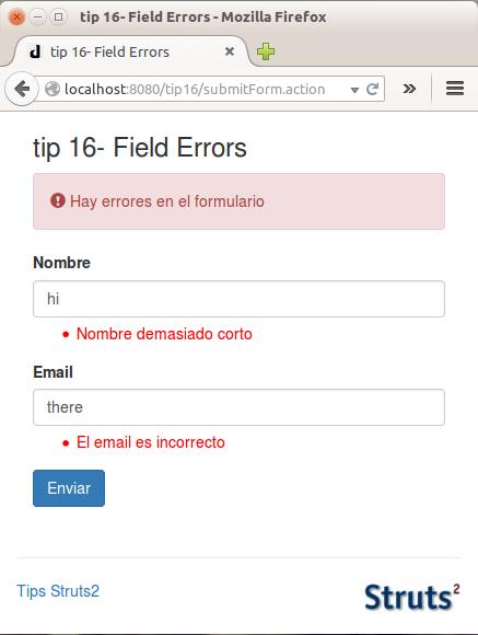 struts 2  field error