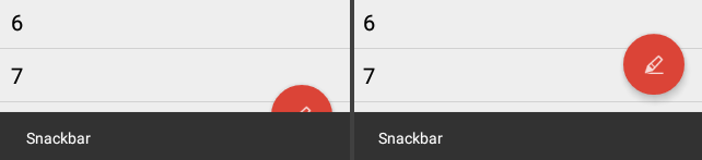 snackbar + floatingactionbutton