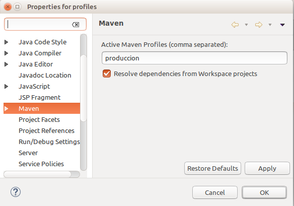 eclipse maven profiles