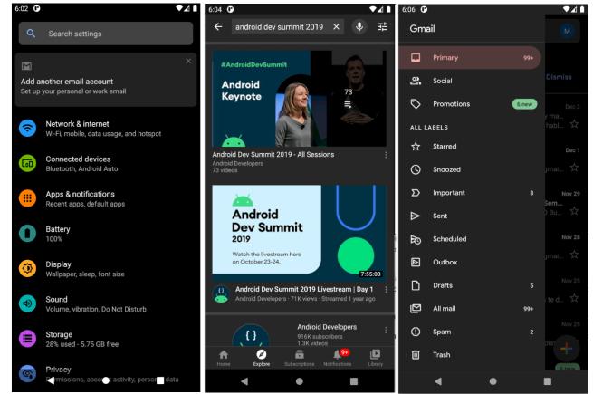 android ejemplos tema oscuro