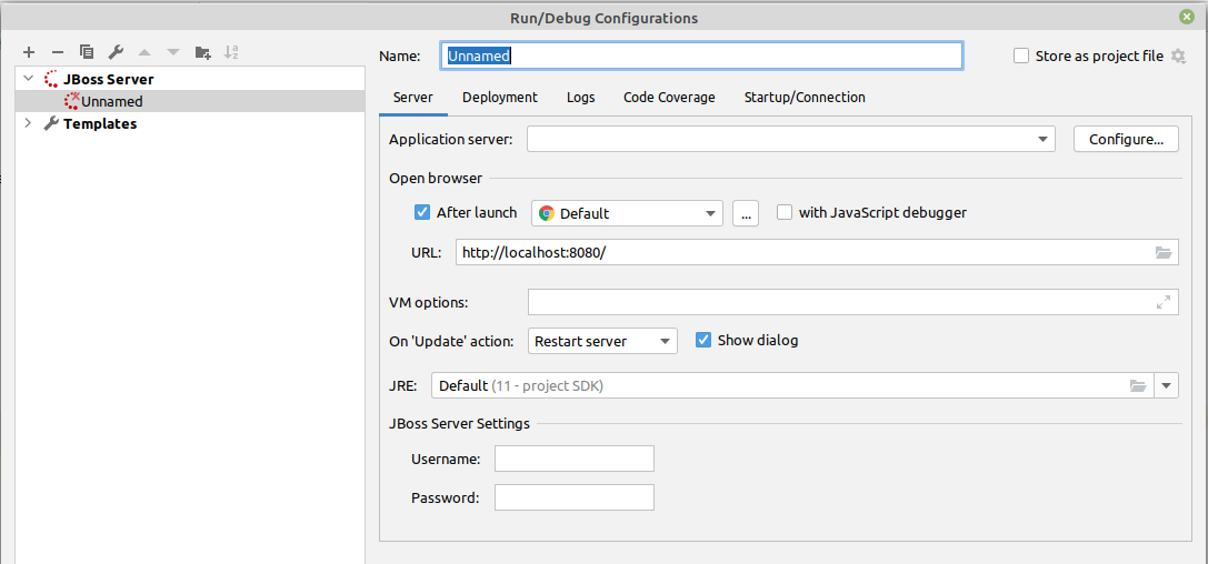 IntelliJ Run Configuration WildFly