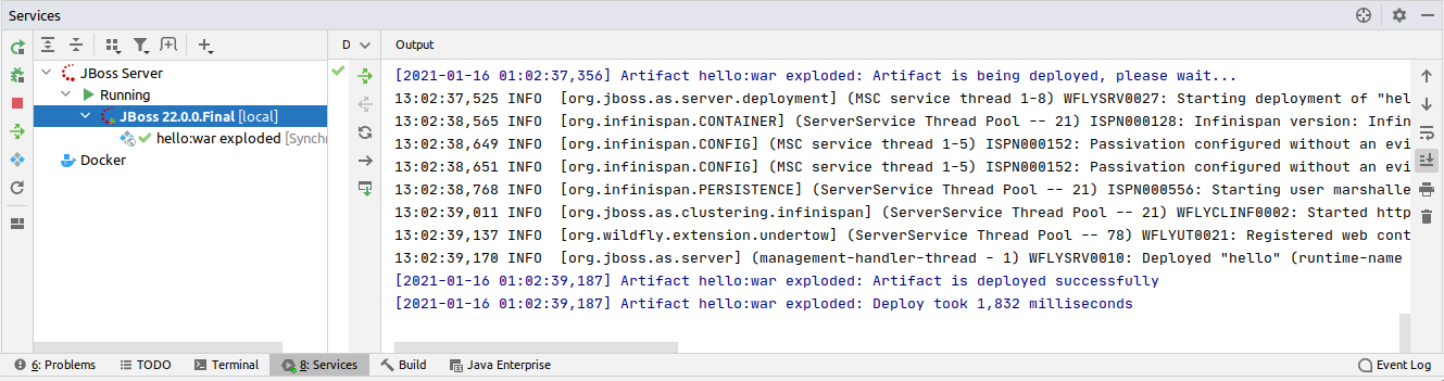IntelliJ Running WildFly Services console output