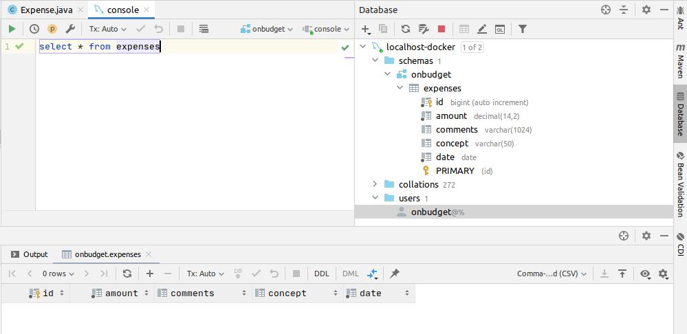 IntelliJ utilidades bases de datos