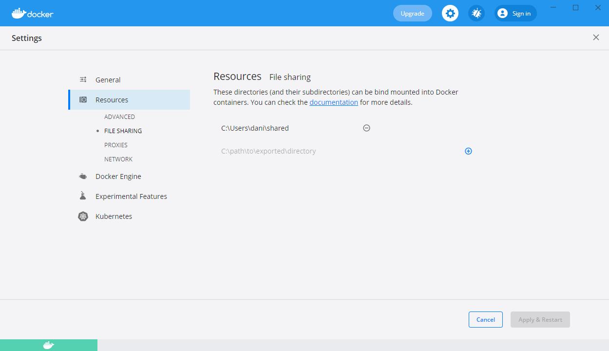 Docker Desktop resources