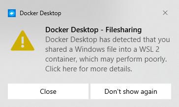 Docker WLS2 filesharing